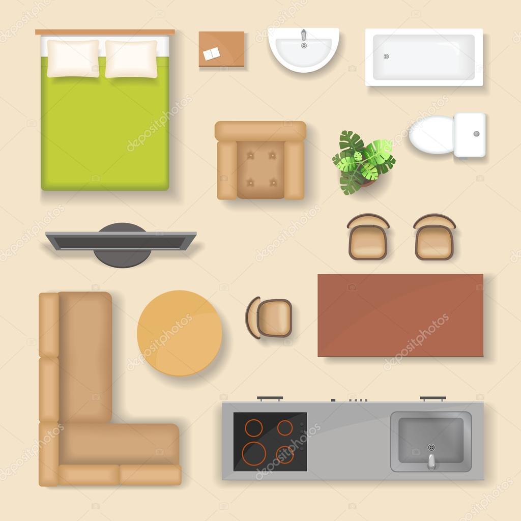 d finir la vue de dessus pour le design int rieur ic ne illustration vectorielle isol s avec. Black Bedroom Furniture Sets. Home Design Ideas