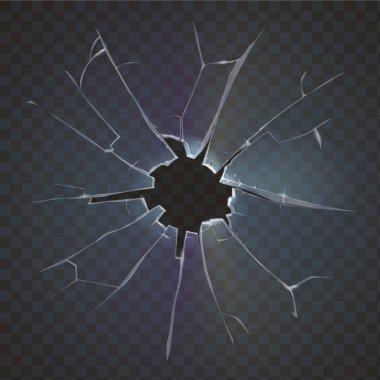 Realistic broken glass black background destruction vector illustration