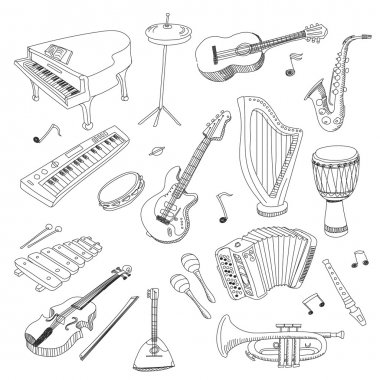 Set of Music Instruments - hand drawn vector