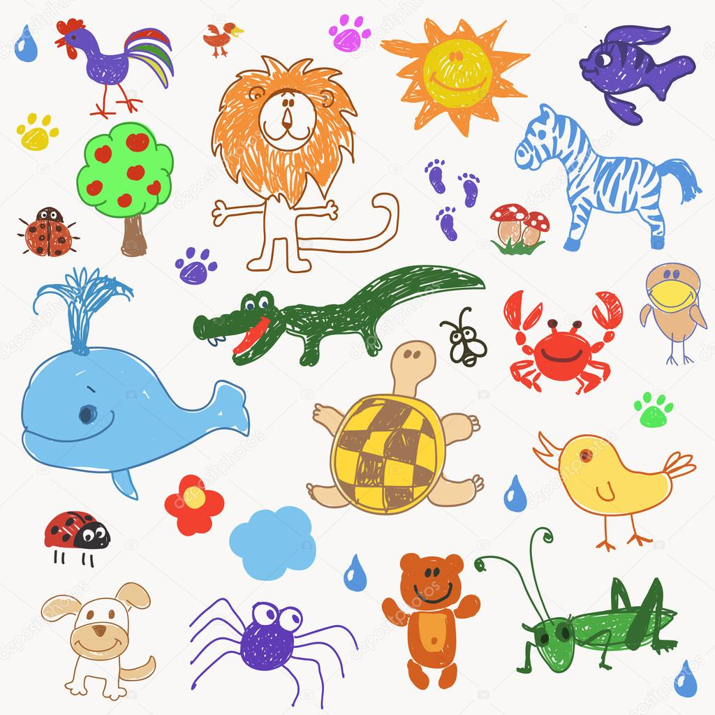 Childrens drawing doodle animals trees.
