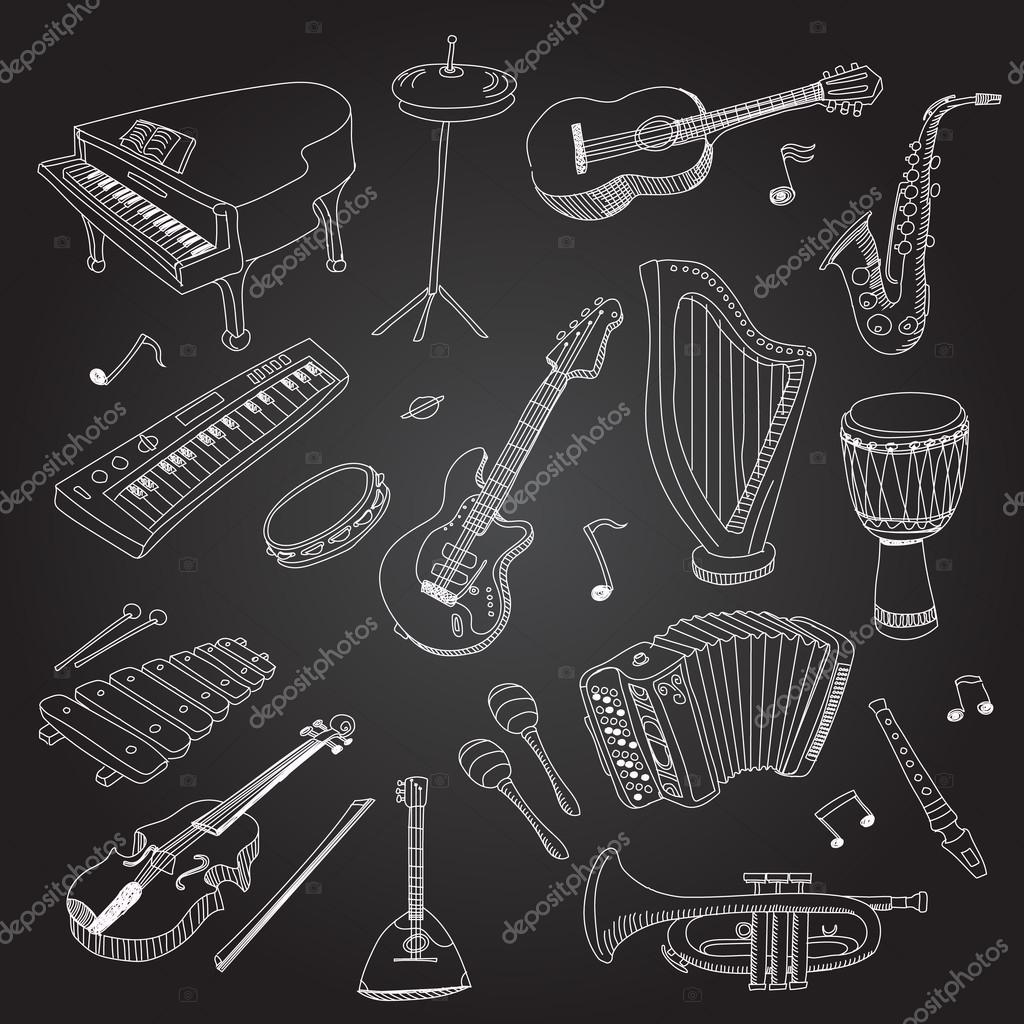 Rock and pop music hand drawn instruments guitar, keyboard