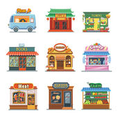 Fotografie Set of nice showcases of shops. Pizza trailer, bakery, candy store, farm products, barbershop, meat shop, bookstore, chinese food, flower outlet. Flat vector illustration set.