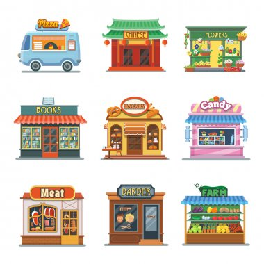 Set of nice showcases of shops. Pizza trailer, bakery, candy store, farm products, barbershop, meat shop, bookstore, chinese food, flower outlet. Flat vector illustration set.