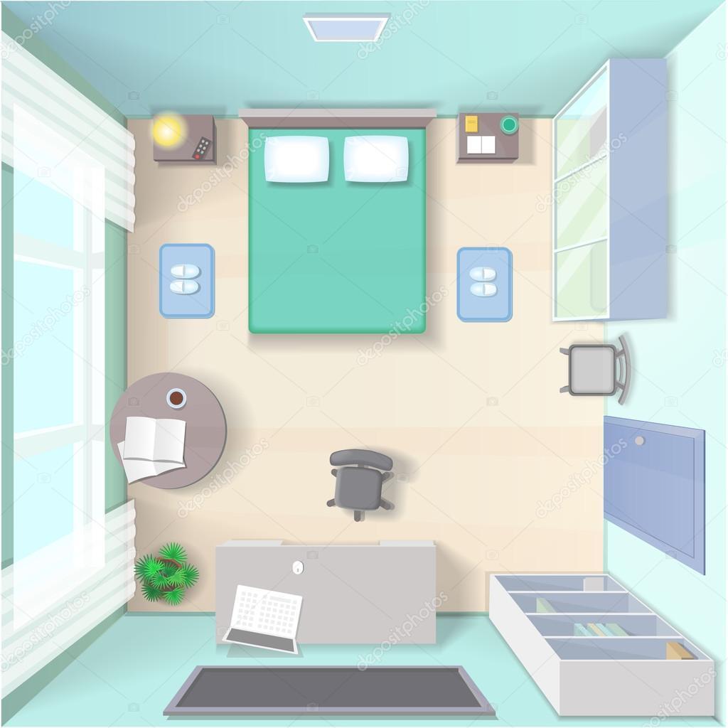 침대, 옷장, 컴퓨터와 테이블 상단 보기 현실적인 현대 거실 벡터 ...
