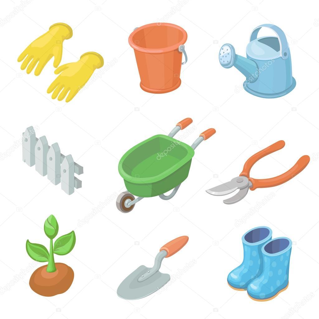 Set de iconos de herramientas de trabajo de jardiner a for Equipo de jardineria
