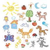 Fotografia Disegno per bambini doodle animali alberi, pecora, cane e volpe, gatto e serpente