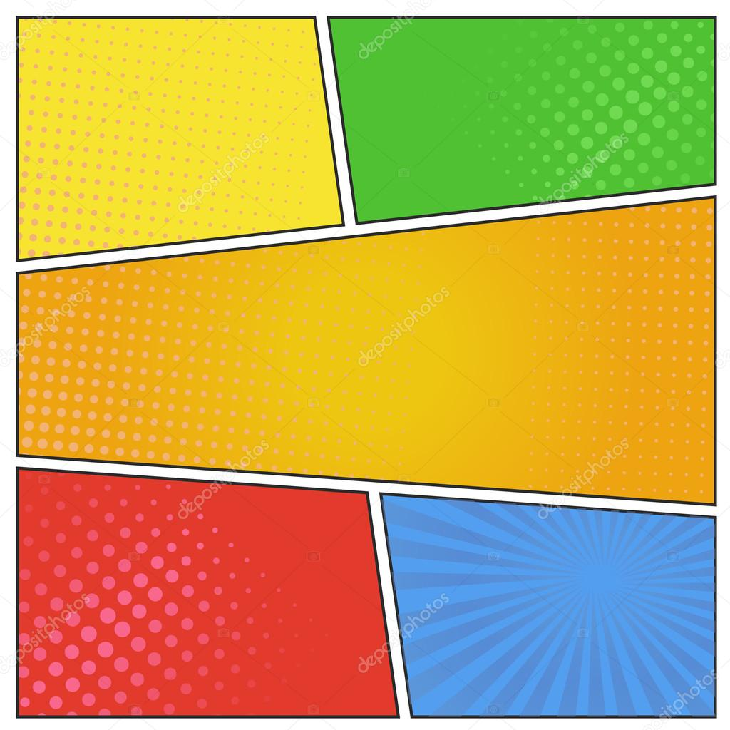 Comics pop art style blank layout template with dots ...