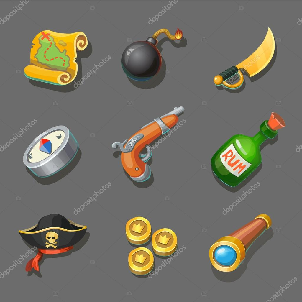 Pirate icons set. Set of corsair items. Different weapon, compass, coin, gun, sword, and treasure map. For computers or mobile game interface and web design