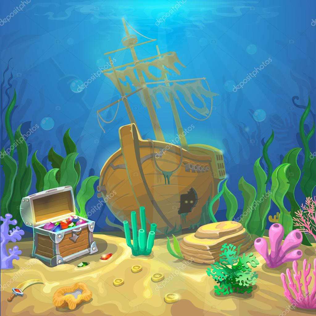 Underwater landscape. The ocean and the undersea world with different inhabitants, corals and pirate chest