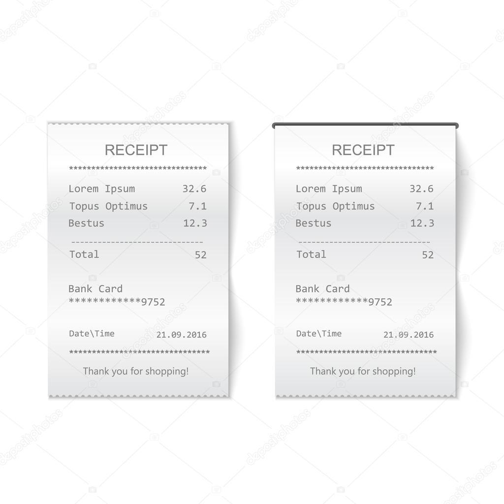 Vektor gedruckten Rechnung. Bill atm Vorlage, Café oder Restaurant ...