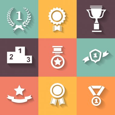 Set of white vector award  success and victory icons with trophies  stars  cups  ribbons  rosettes  medals medallions