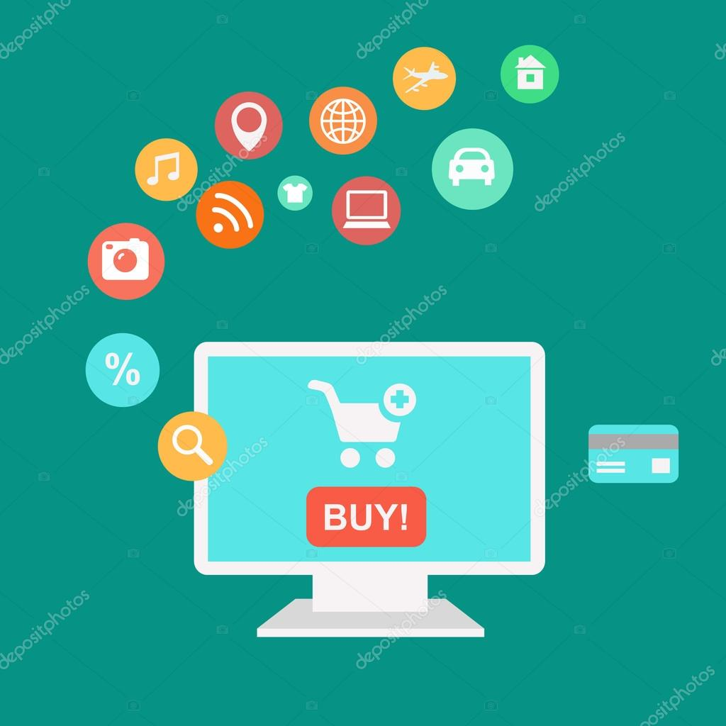 Online shopping und e-Commerce Konzept, Kauf, online-Shop mit ...