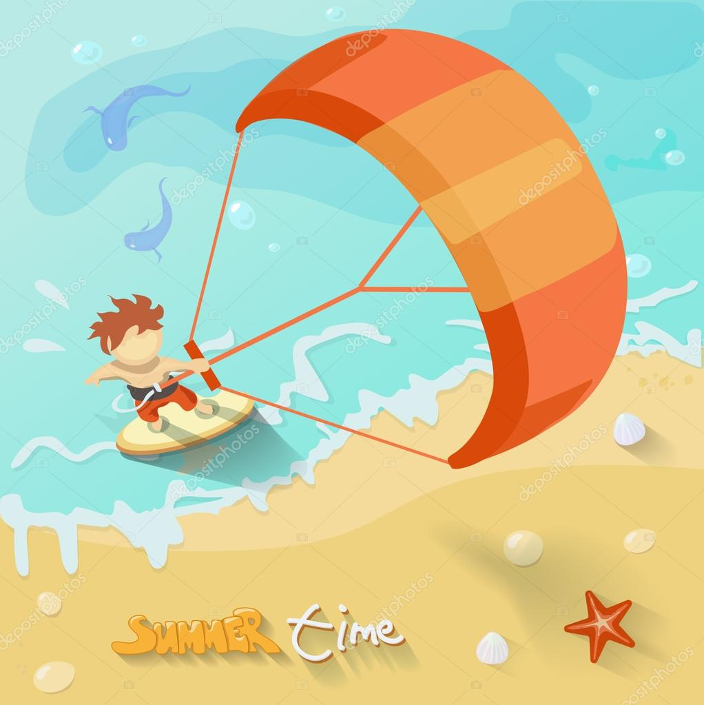 Summer time kiteboarding poster. Vector illustration with Sea, sun, ocean, fich, kite, surf