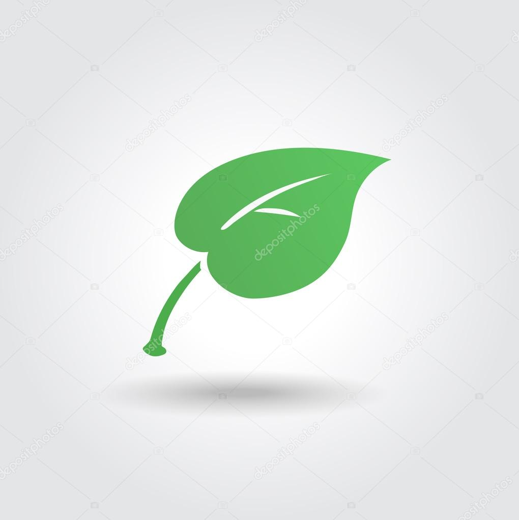 Eco icon with green leaf, vector bio sign