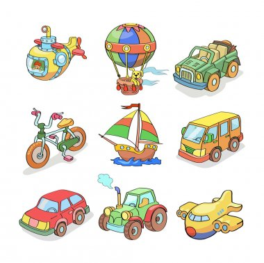 Cartoon collection of Transportation- Colored