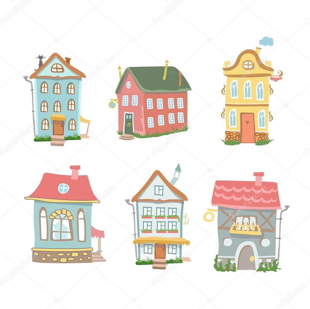 Niedliche Cartoon Satz Von Hand Gezeichneten Häuser Home Sweet Home Auf  Weißem Hintergrund U2014 Stockfoto