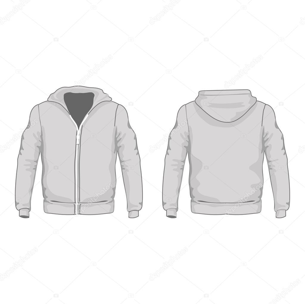 Herren-Hoodie-Hemden-Vorlage. Vorder- und Rückseite Ansichten ...