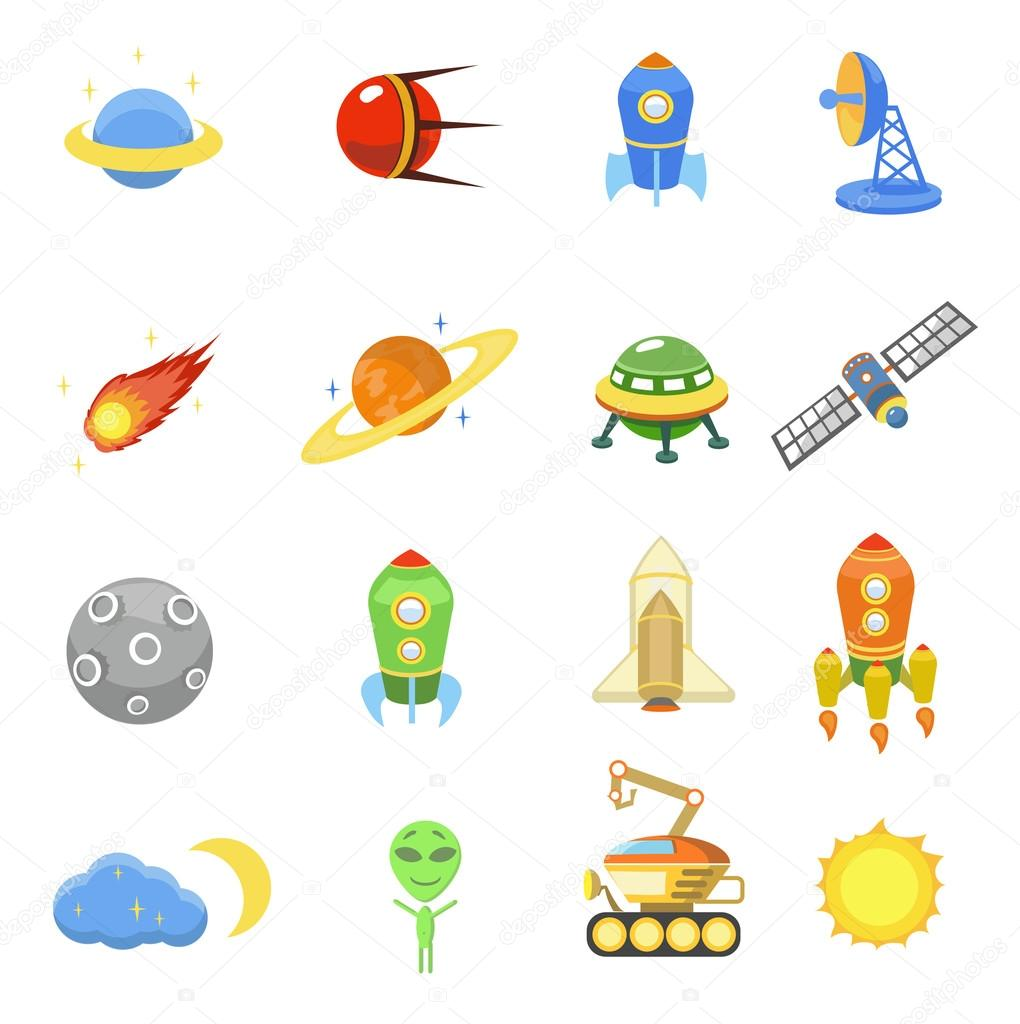 Space icons set of rocket galaxy planet ufo illustration ...