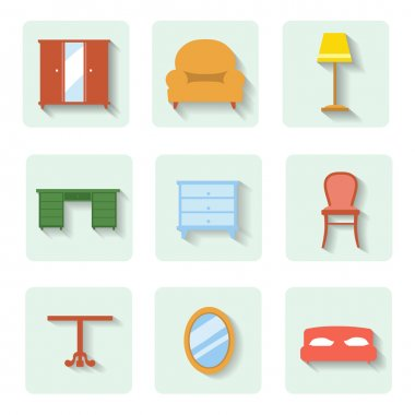 Colored flat icons furniture. vector set
