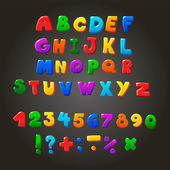Photo Multicolored kids Vector Font,  letters, numbers and orthographic symbols