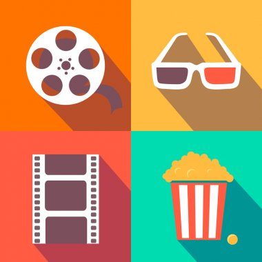 Set of movie design elements and cinema icons flat style