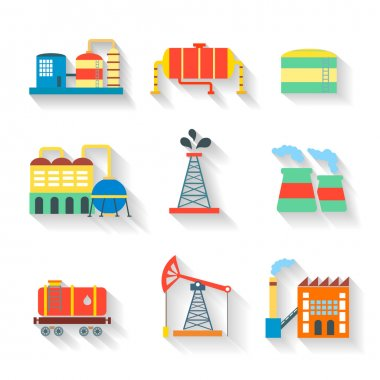 Set of colourful vector industrial factory buildings and refineries on white backgrounds with long shadows