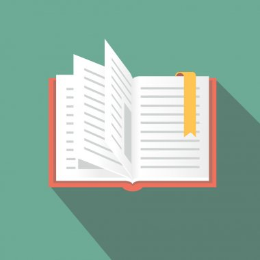 Book icon in flat style with long shadow