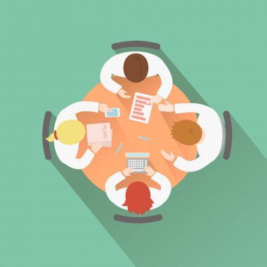 Business teamwork concept top view group people having a meeting around a round table discussion and brainstorming session clip art vector