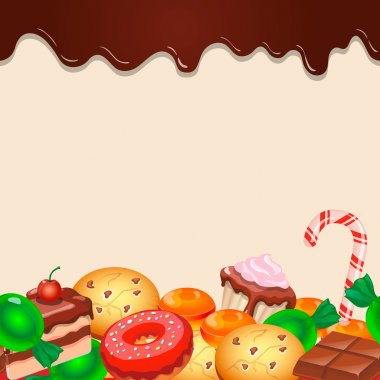 Seamless pattern colorful candy sweets and chocolate