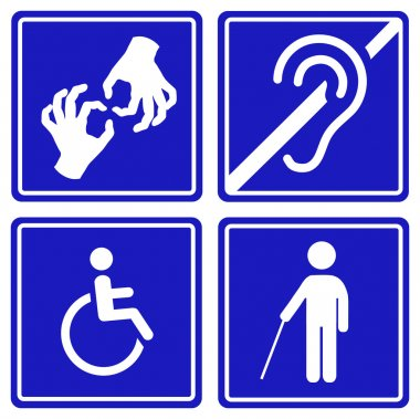 Disabled signs - deaf, blind, mute and wheelchair  icons. Vector.