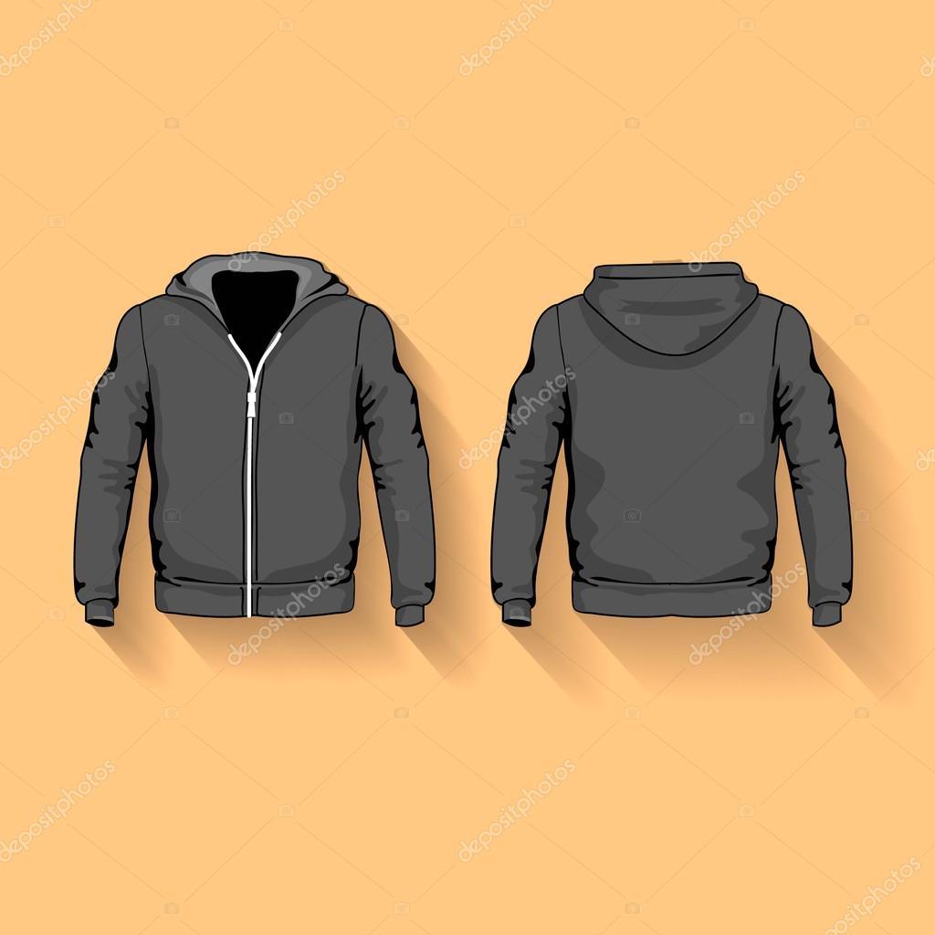 Men s Hoodie Hemden Vorlage vorne und hinten — Stockfoto © Lightkite ...