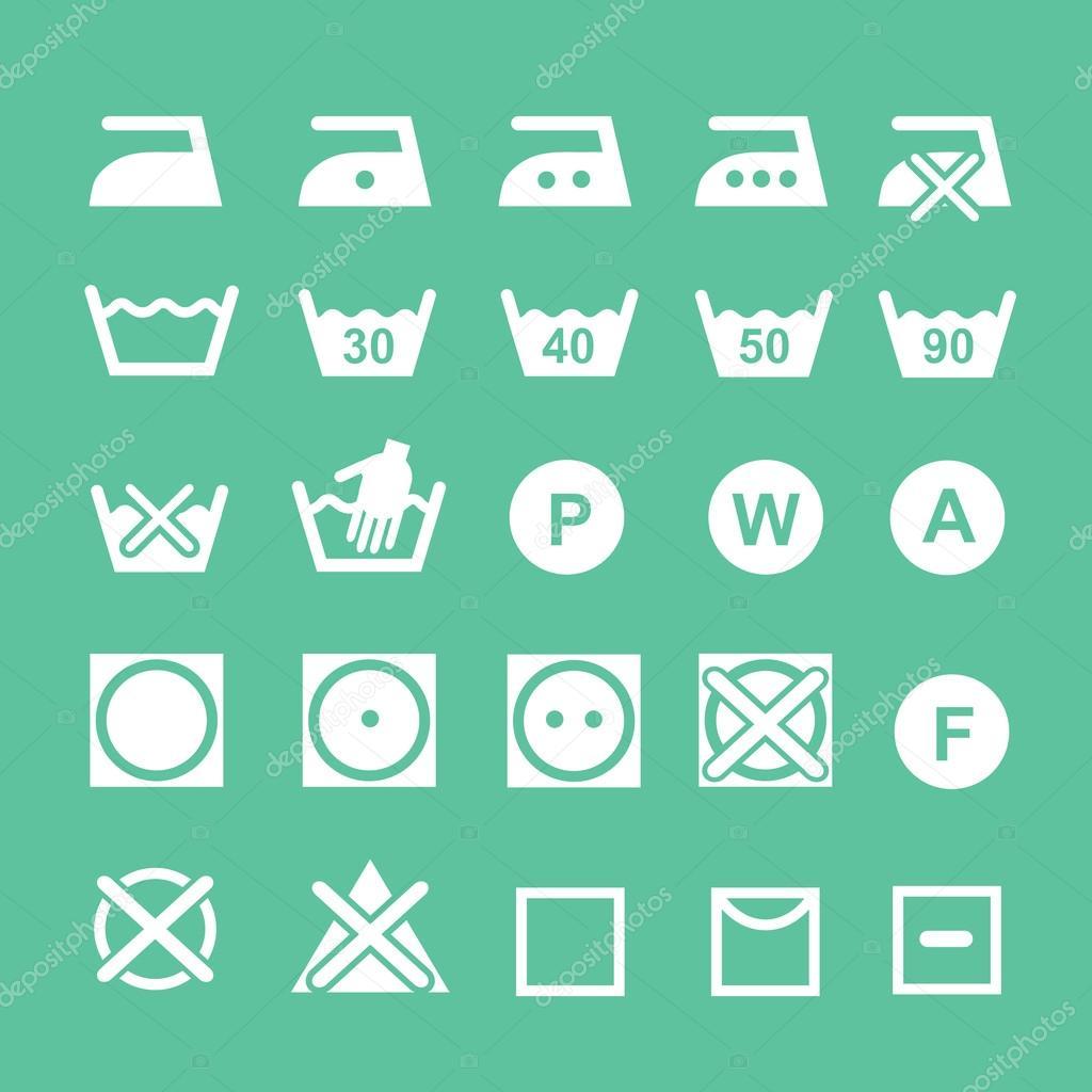 Set Of Washing Symbols Washing Instruction Symbols White Stock