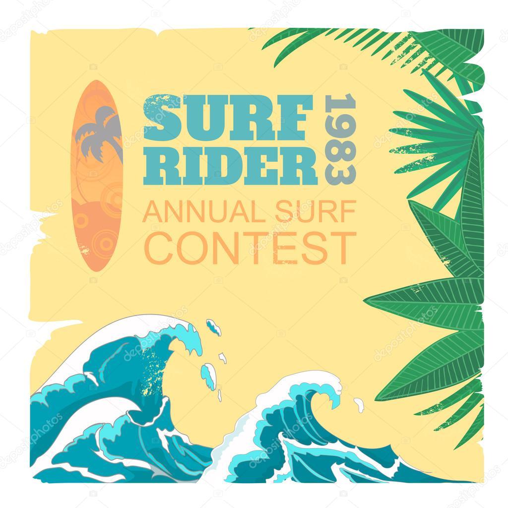 Sport surf typography, t-shirt graphics, vectors