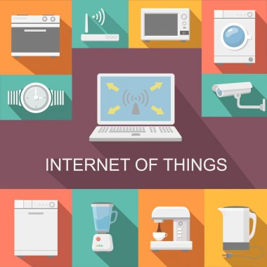 Internet of things computer remote control flat icons composition poster abstract isolated vector illustration