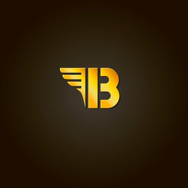 Letter B. Vector gold font. Template for company logo. Design element or icon.