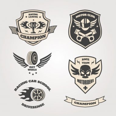 Grand prix racing  motorclub  emblems set isolated vector illustration