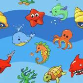 Bezešvé vzor moře s mořem živě