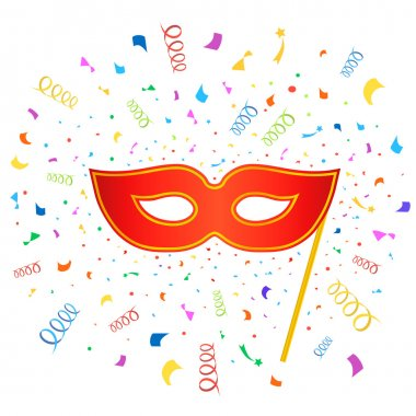 Bright carnival masks with confetti on white background,  party poster template