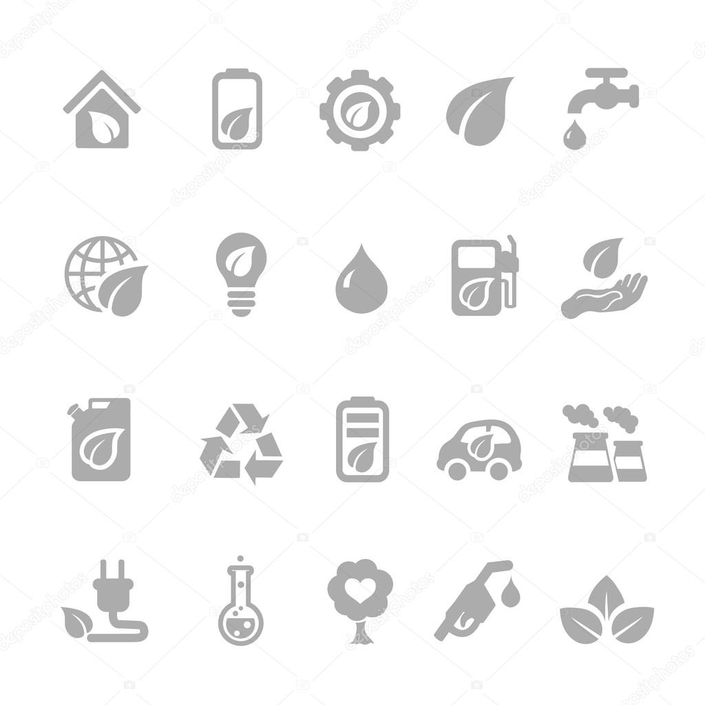 Set of eco energy icons with nuclear  and solar power  electric car  recycling