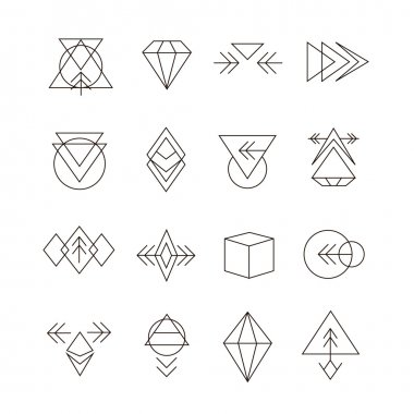 Abstract Geometric Set with Hipster Style Icons for Logo Design. Line Retro Signs for Logotypes