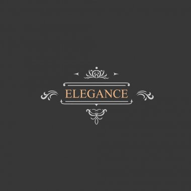 Vintage retro label and luxury logo, restaurant, hotel, boutique  Heraldic victorian Design with flourishes elegant elements. Vector Illustration template.