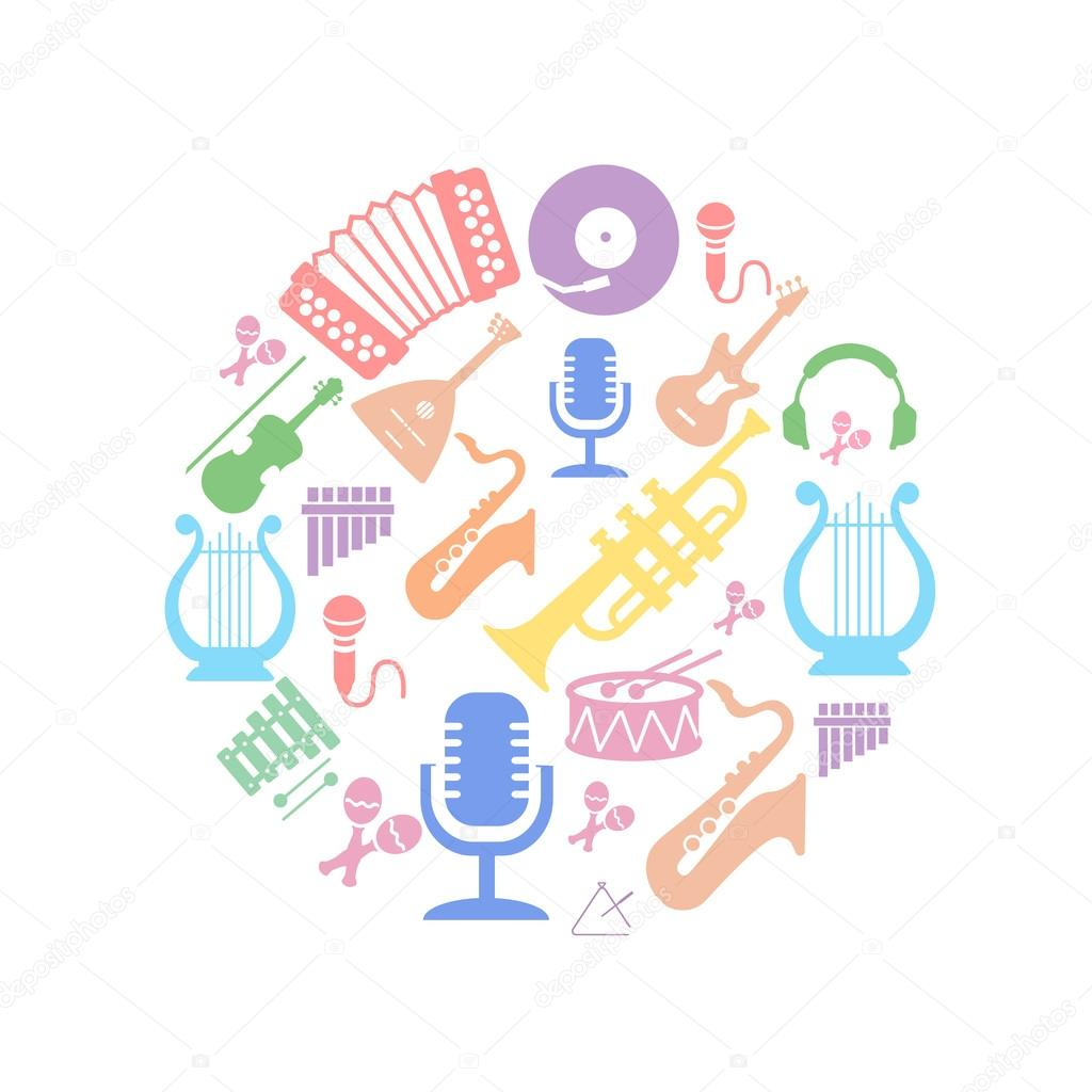 Multicolored music instruments  silhouette in circle shape.