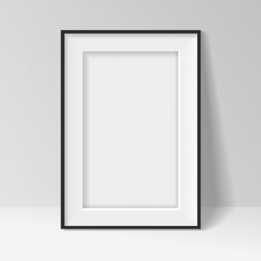 Black frame standing near the walll vector background design