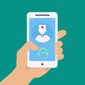 Photo Vecto flat concept web design of hand holding mobile phone with medical assistance and doctor consultation online icon