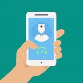 Vecto flach-Konzept-Web-Design von Hand halten Handy mit medizinischer Hilfe und Arzt Konsultation online Symbol