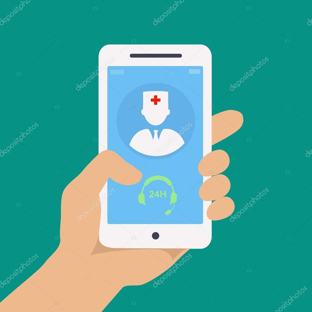 Vecto flat concept web design of hand holding mobile phone with medical assistance and doctor consultation online icon