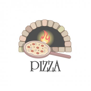 Logo with firewood oven and pizza.