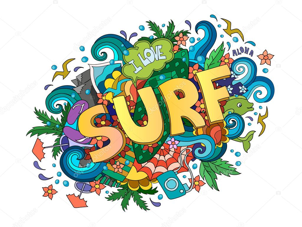 Surf  lettering design, hand-drawn t-shirt typographic vector surfing print, bright surfboard illustration