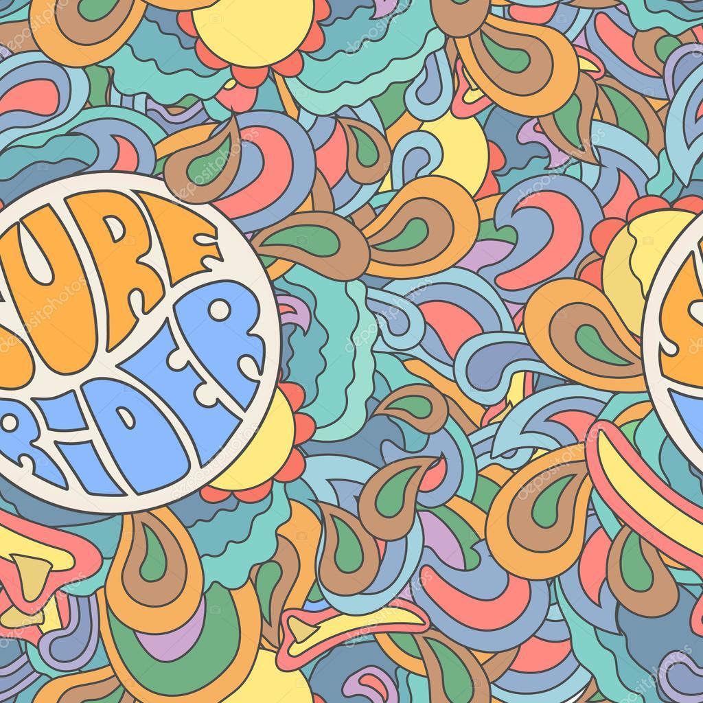 Colored surfing retro hand drawn pattern. Summer, surf rider illustration,