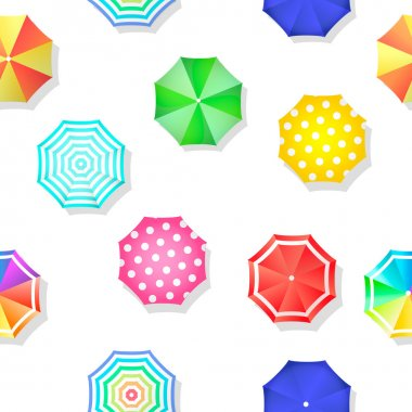 Beach set  of sun umbrellas seamless pattern. Vector illustration stock vector